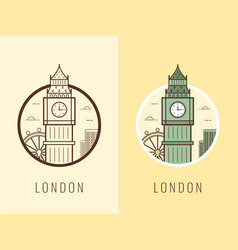 world landmarks united kingdom travel and vector image