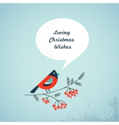 Christmas background with bird ashberry and speech vector