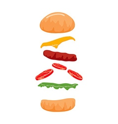 Colorful burger isolated on with background vector