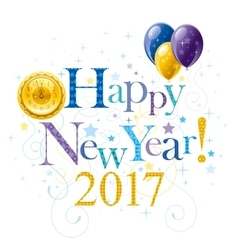Happy new year 2017 blue golden logo icon vector