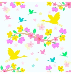 Seamless sakura blossom background vector