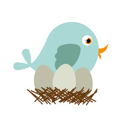 Blue color silhouette of bird in nest with eggs vector