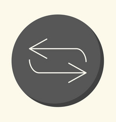 Reverse arrow movement round linear icon vector