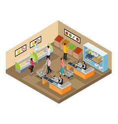 Isometric grocery shop concept vector