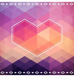 Abstract geometric pattern with pink heart vector