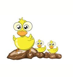 Mother duck and her ducklings cartoon vector image