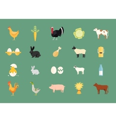 Colorful set of farm animals and produce vector image