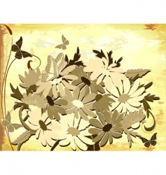 Old paper with daisies vector