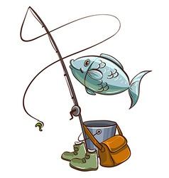 Fishing equipments vector image