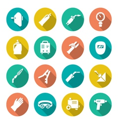Set flat icons of welding vector