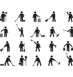 Pictogram people cleaning vector image