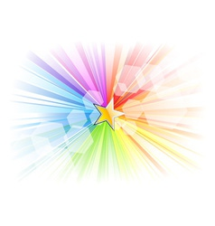 Rainbow rays with gold star vector