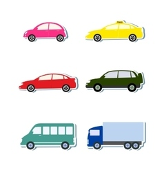 Colorful sticker set with car icon vector