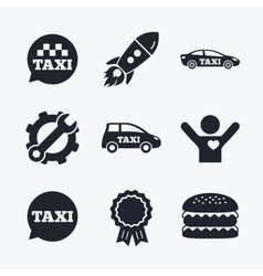 Public transport icons taxi speech bubble signs vector