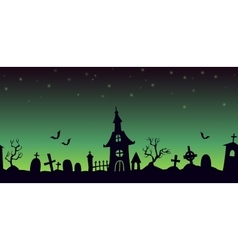 Night cartoon cemetery landscape vector image