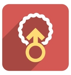 Ovum penetration flat rounded square icon with vector