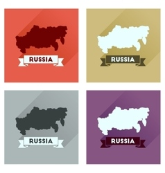 Concept flat icons with long shadow map of russia vector