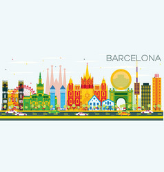 Barcelona skyline with color buildings and blue vector