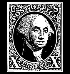 Black washington 10 cent stamp vector