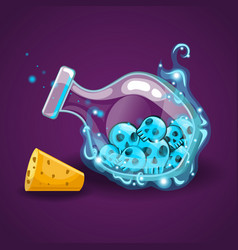 Bottle with skull and magic smoke vector