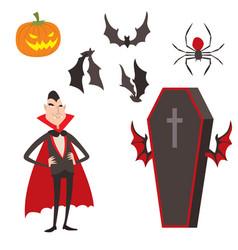 cartoon dracula symbols vampire icons vector image vector image