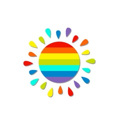 Cartoon rainbow color sun Isolated White vector image
