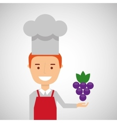 Cheerful chef fresh grapes graphic vector