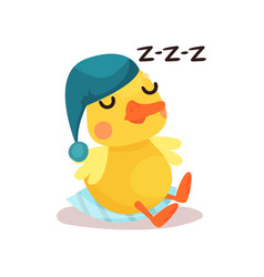 cute little yellow duck chick character in a blue vector image vector image
