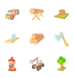 Deforestation icons set cartoon style vector image