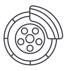 Disc brakecar service line icon sign vector