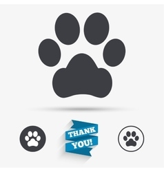 Dog paw sign icon Pets symbol vector image vector image