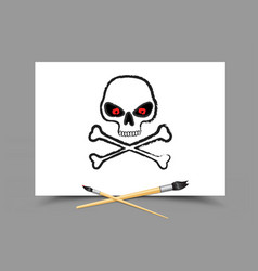 drawing skull on white paper vector image vector image