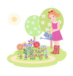 Girl watering flowers vector image