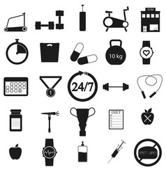 gym set black icon on white vector image