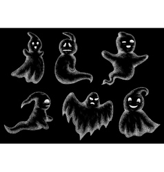 Halloween funny ghosts and spooks cartoon vector