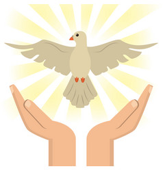 Hand with holy spirit catholic vector