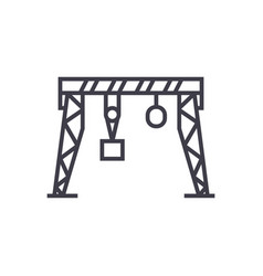 harbour crane line icon sign vector image