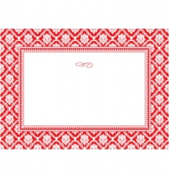 holiday damask pattern and frame vector image vector image