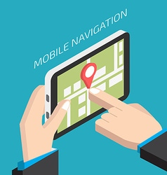Isometric gps mobile navigation with tablet man vector