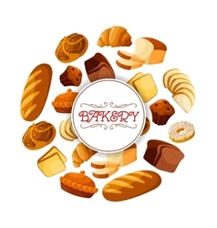 Loaf of brick rye bread and bakery food banner vector