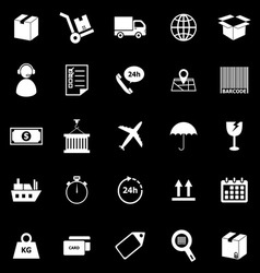 Logistics icons on black background vector image