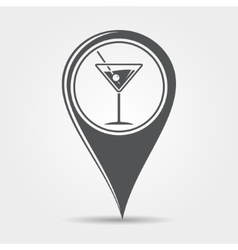 Martini cocktail map pointer icon vector image vector image