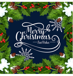 merry christmas holidays greeting card vector image vector image