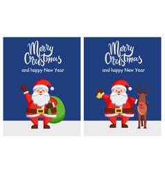 merry xmas happy new year poster santa bag deer vector image vector image