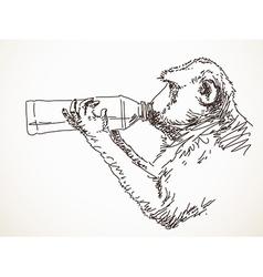 monkey drinking water vector image vector image