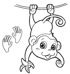 monkey with paw print Coloring Pages vector image