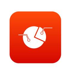 percentage diagram icon digital red vector image