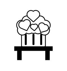Pictogram cupcake heart on table design vector