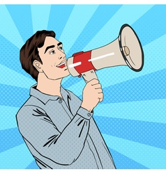 Pop art style man with megaphone in comic style vector