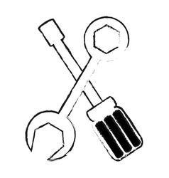 screwdriver and wrench repair tool icon image vector image vector image